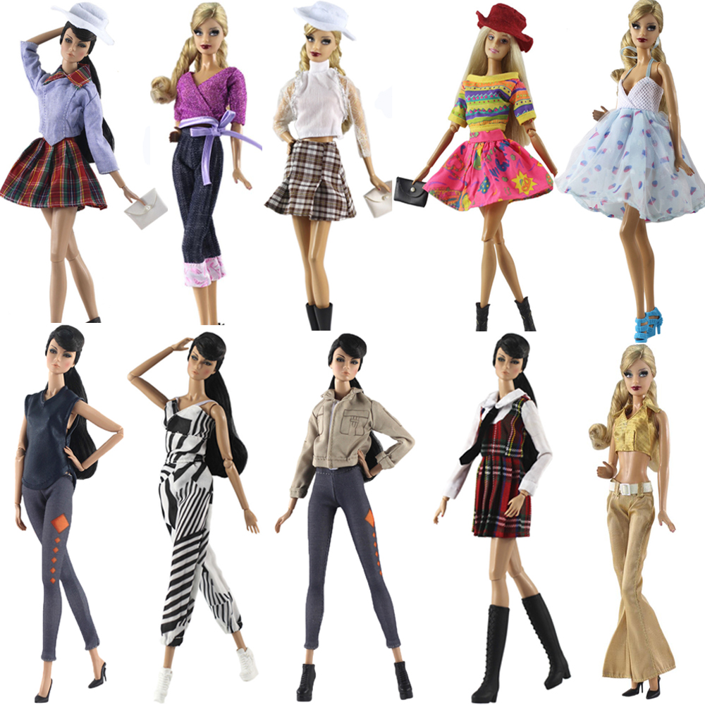 NK Mix New Doll Dress MIni Skirt Party Gown Modern Outfit Daily Wear For Barbie Doll Best Gift Doll Accessories Child Toy JJ