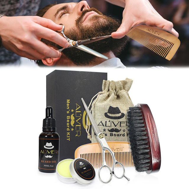 Newly Men Beard Care Grooming Trimming Kit Unscented Beard Conditioner Oil Mustache for Shaping Growth CLA88 6