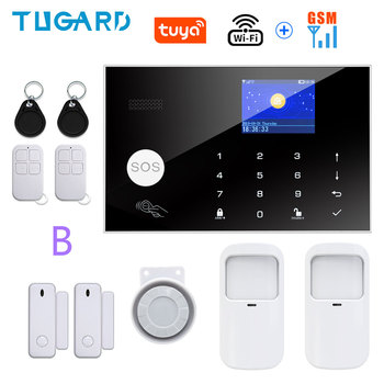 Tugard Tuya Wifi Gsm Home Burglar Security Alarm System 433MHz Apps Control LCD Touch Keyboard 11 Languages Wireless Alarm Kit 18