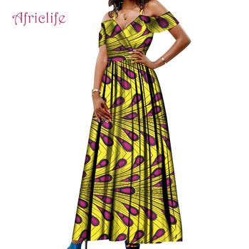 OEM Factory High Quality Sexy Lady High Waist Bazin African Clothes For Women Batik Lady Long Dress WY5668