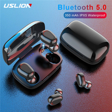 USLION Wireless V5.0 Bluetooth Earphone TWS 9D Stereo Headphone Sports Gaming Headset With Dual Mic and LED Display Charge Case