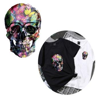 Colors Punk Patch Skull Iron-on Transfer Skull Heat Transfer Vinyl Clothing Sticker Cool Accessory For Men Coat DIY Shirt Decor image