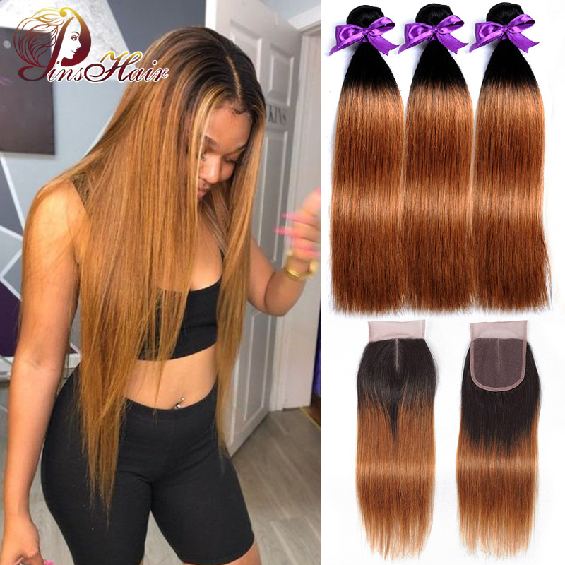 Honey Blonde Bundles With Closure Peruvian Straight Hair Ombre 3 Bundles With Closure 1B 30 Human Hair Weave Pinshair Remy Hair