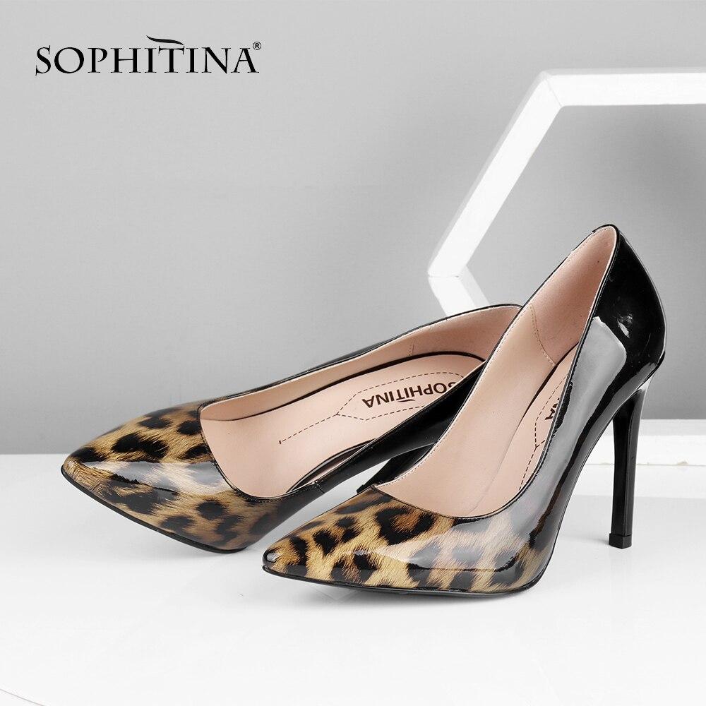 SOPHITINA nouveau Design femmes pompes léopard haut talon mince bout pointu robe d'été dames chaussures peu profonde fête pompes de mariée MC584