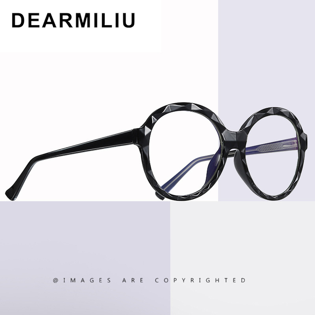 DEARMILIU 2020 New Womens Blue Light Blocking Glasses Round Frame Classic Flat Mirror Reading Computer Eyeglasses Lunettes