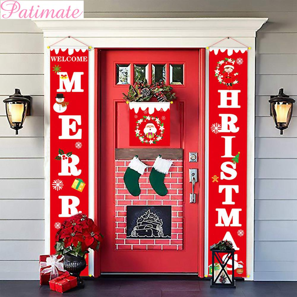 PATIMATE Christmas Door Banner Porch Sign Decoration For Home Pendant Merry Ornaments 2019 Navidad