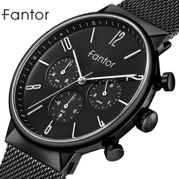 Fantor Top Brand Luxury Chronograph Watch Men Classic Mesh Waterproof Male Clock Wristwatch Quartz Watch for Men