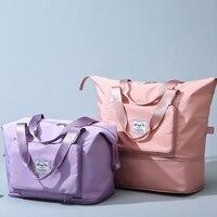 Große Kapazität Klapp Reisetasche Frau Reise Wasserdicht Gym Tasche Oxford Multifunktions Hand Gepäck Tote Duffel Set Für Dame Männer