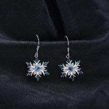 Sterling Silver Genuine Blue Topaz Snowflake Drop Earrings Jewelry