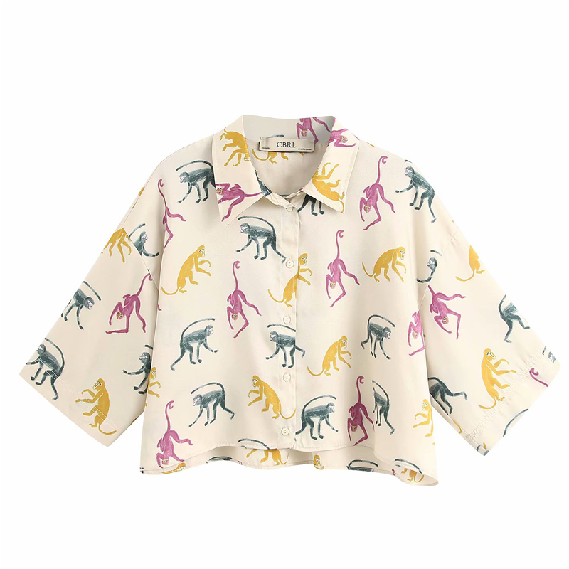 2020 Summer Women Loose Blouses Shirt Tops Half Sleeve Print Animal Chiffon Casual Shirts Top Female Sweet Blusas Camisa Clothes