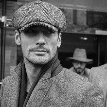 Chapéu masculino quente tweed octogonal boné preto azul boina espinha de peixe detetive newsboy chapéus retro feminino inverno boné blm258