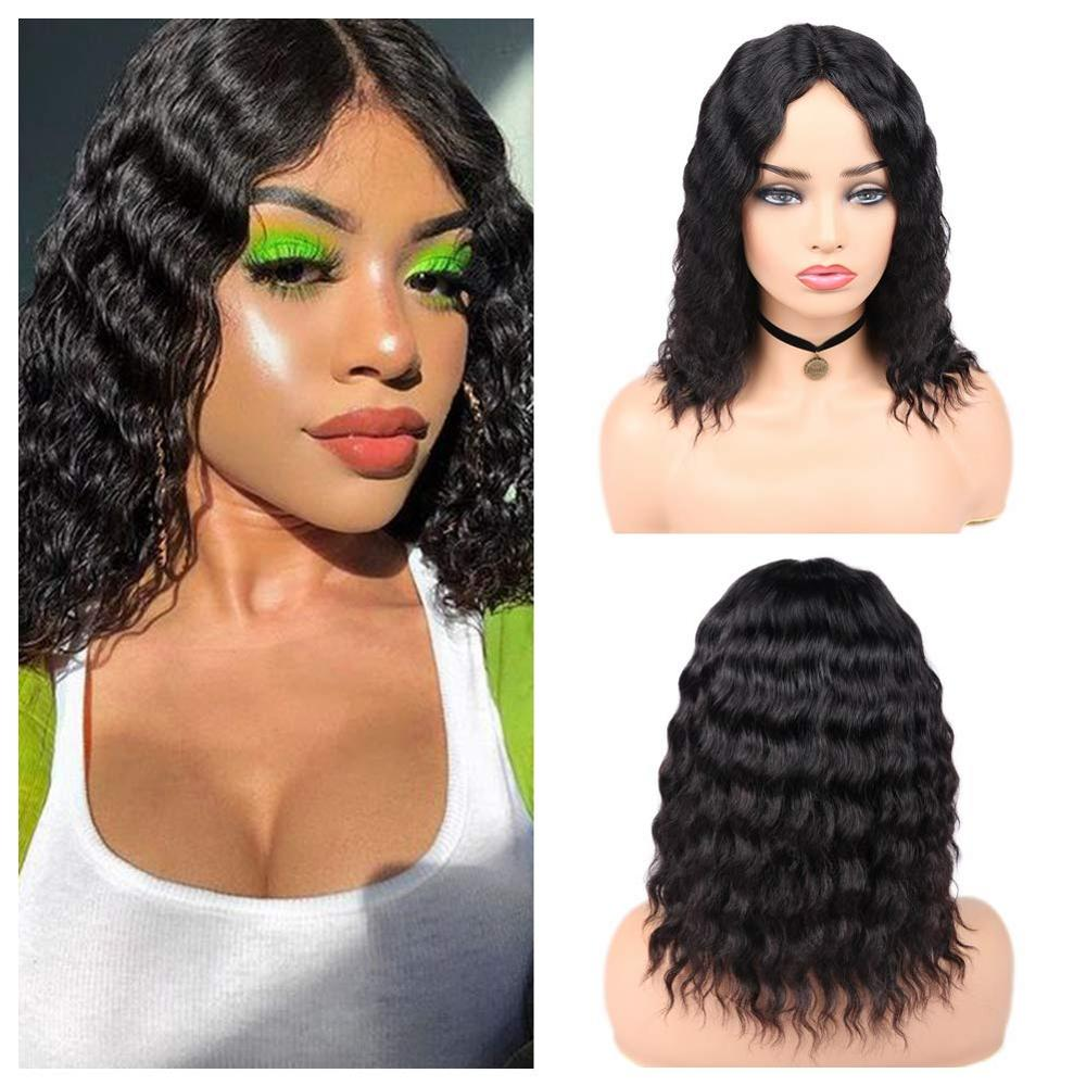 FAVE Human Hair Wigs Lace Part Loose Deep Wave Wigs 100% Brazilian Remy Hair Wig Natural Color For Womens Middle Part Lace Wigs