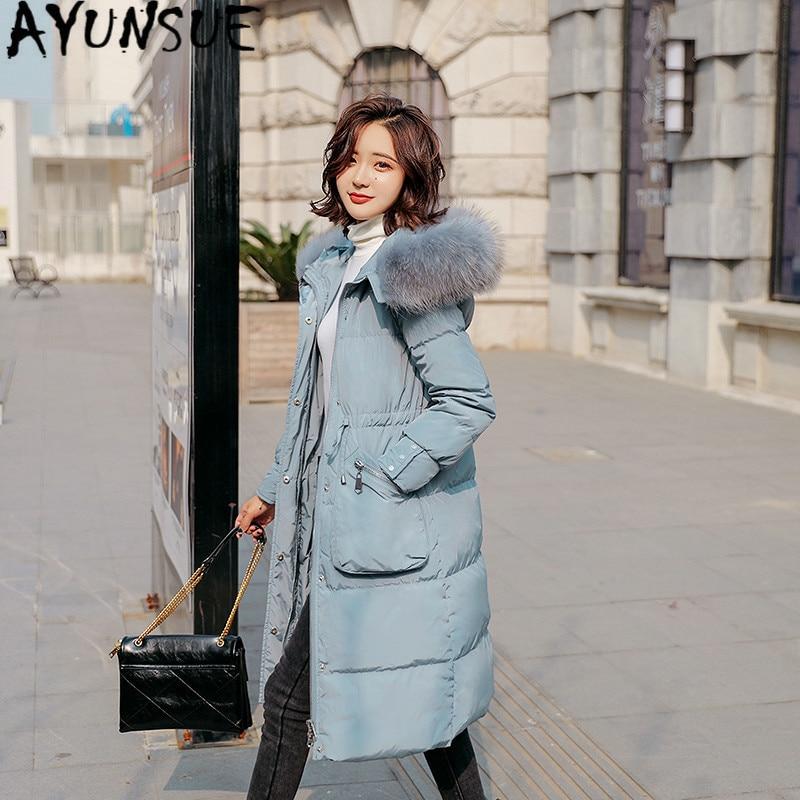 Women Jacket 90% White Duck Down Coat Winter Coat Women Big Fur Collar Down Jacket Korean Puffer Jacket Nub888 YY1376