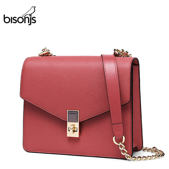 $ US $35.49 BISONJS Cow Leather Luxury Handbags Women Bags Designer New Shoulder Bag High Quality Crossbody Bag for Women B1648