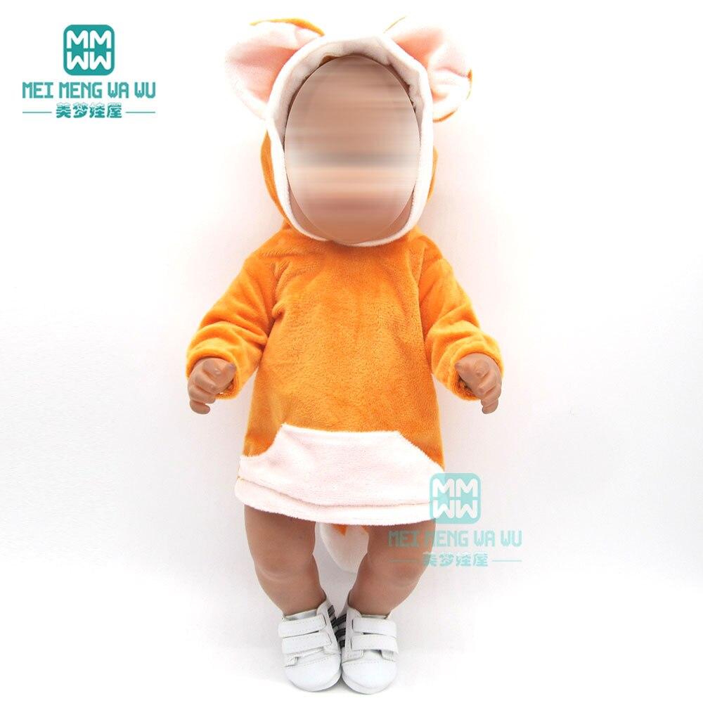 Ubranka dla lalki dla 43 cm noworodki dla dzieci lalka żółta kreskówka z kapturem pełzająca sukienka dla dziewczynki