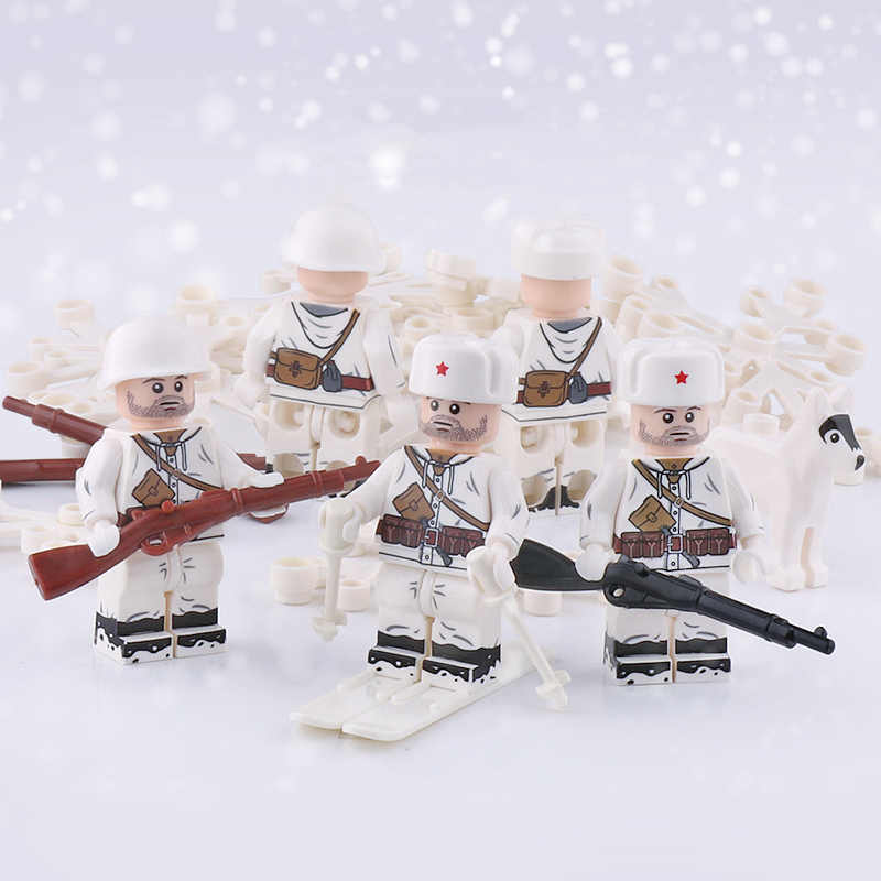 WW2 Military Army Russia Soldiers Figures Building Blocks Soviet Snow Infantry Figures Mosin-Nagant arms Helmet parts Bricks Toy