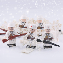 WW2 Military Army Russia Soldiers Figures Building Blocks Soviet Snow Infantry Mosin-Nagant arms Helmet parts Bricks Toy