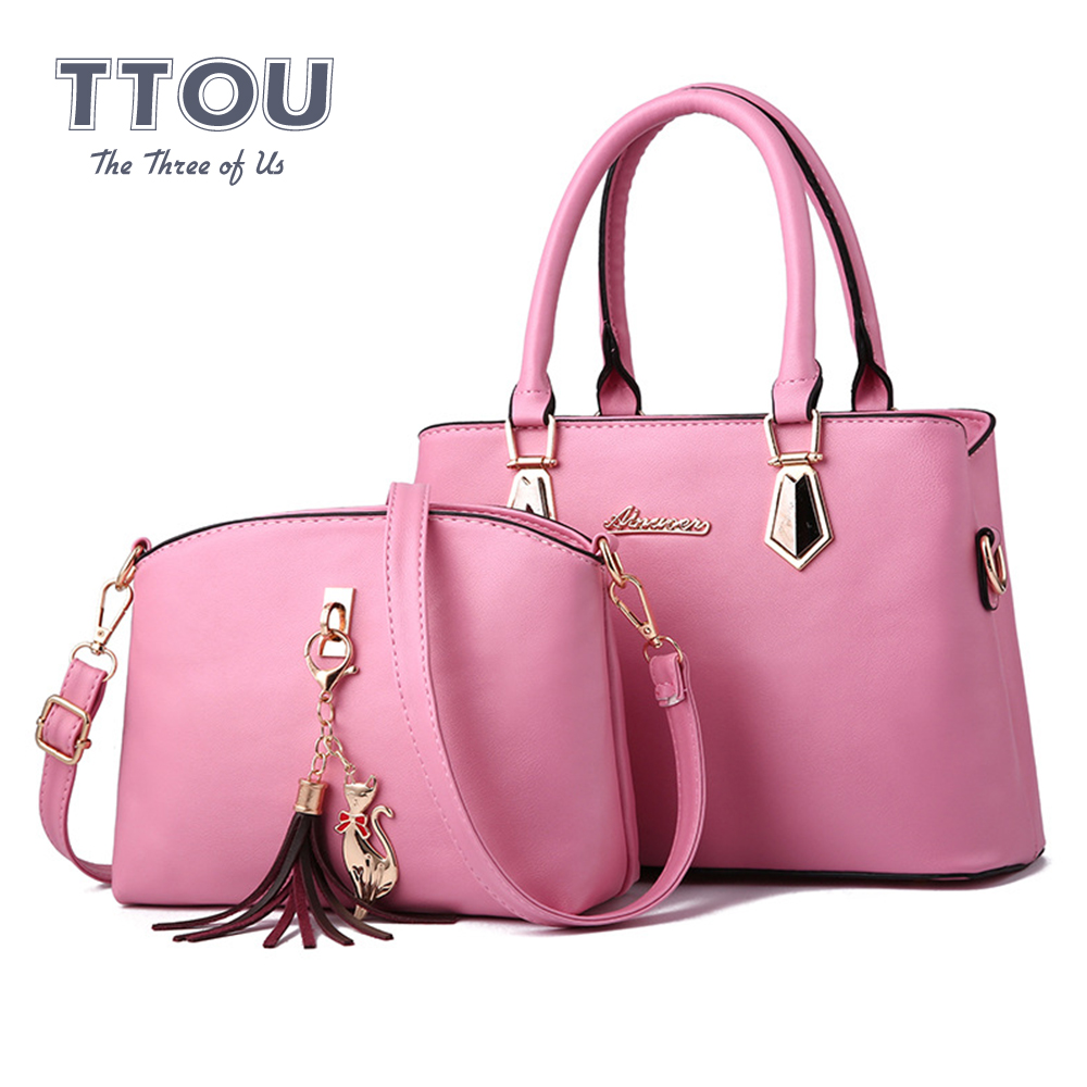 2 PCS Set Pure Color Women Handbags Vintage Female Quality Composite Bag Large Capacity Soft Leather Casual Tote Female Purses