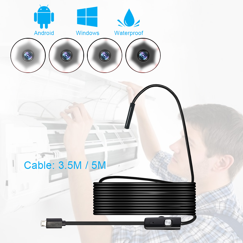 FUERS 5.5/7 Mm USB Mini Endoscope Camera Flexible 3.5m/5m Soft Cable Snake Borescope Inspection Camera For Android Smartphone PC