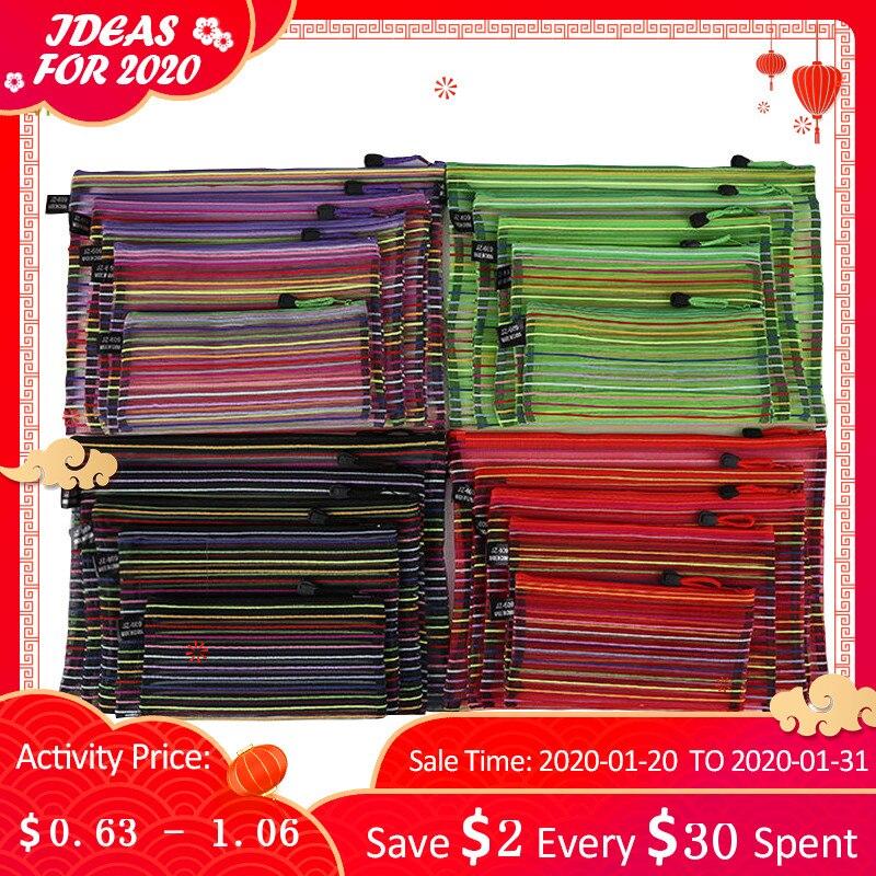 Mrosaa A4 A5 B4 B5 B6 Colorful Waterproof Nylon Transparent Mesh Zippe Bag File Folder Stationery Storage School Supplies