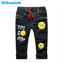 New Winter Thick Warm Boys Jeans Black Fashion Children Clothing Baby Boy Thermal Denim Pants for Kids Trousers 1-5 Years
