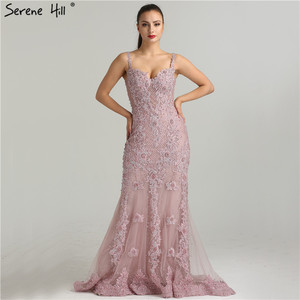 Image 4 - Serene Hill Pink Sexy Elegant Evening Dress 2020 Lace Pearls Diamond Mermaid Formal Party Gown Real Photo CLA6355