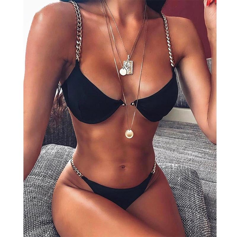 Sexy Bikini Women Swimsuit Solid Bikini Set Push Up Swimwear Low Waist Bathing Suits Beach Wear 2020 New Swimming Suit For Women 5