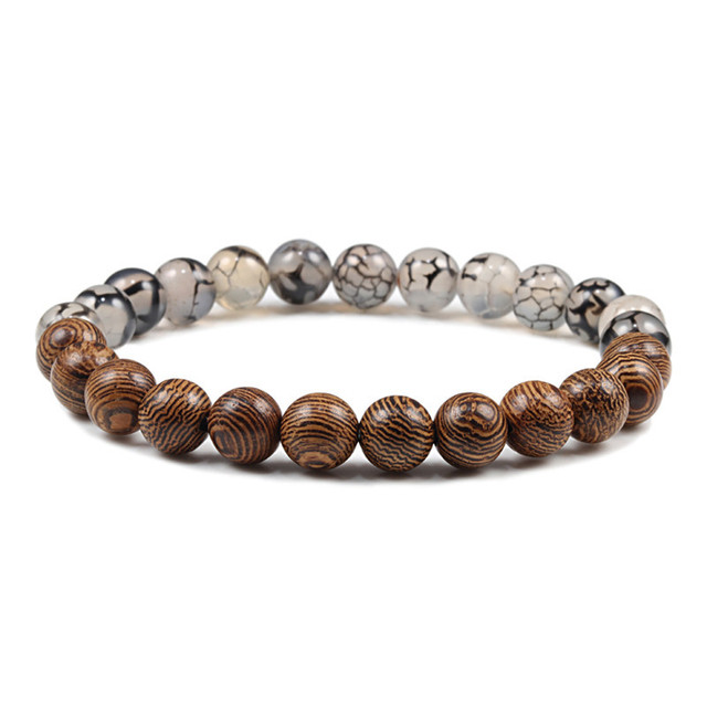 Natuurlijke DIY Houten Kralen Charm Chakra Armbanden Balans Yoga Meditatie Armband & Bangles Vrouwen Mannen Homme Gebed Sport Sieraden