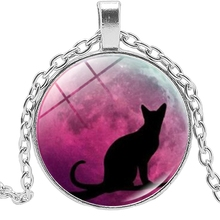 2019 Hot Fashion Black Cat and Red Moon Time Crystal Glass Cabochon Pendant Necklace Clothing Sweater Chain Jewelry