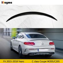цена на c63 style rear trunk lip for benz C class coupe 2door c200 c250 2015-2018 W205 C205 C43 fiber glass FRP matt black spoiler wing