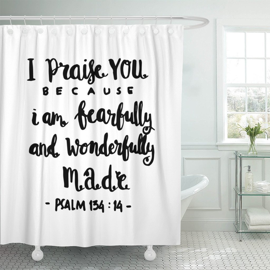 I Praise You Because Am Fearfully On White Lettering Bible Verse Modern Calligraphy Christian Shower Curtains Waterproof