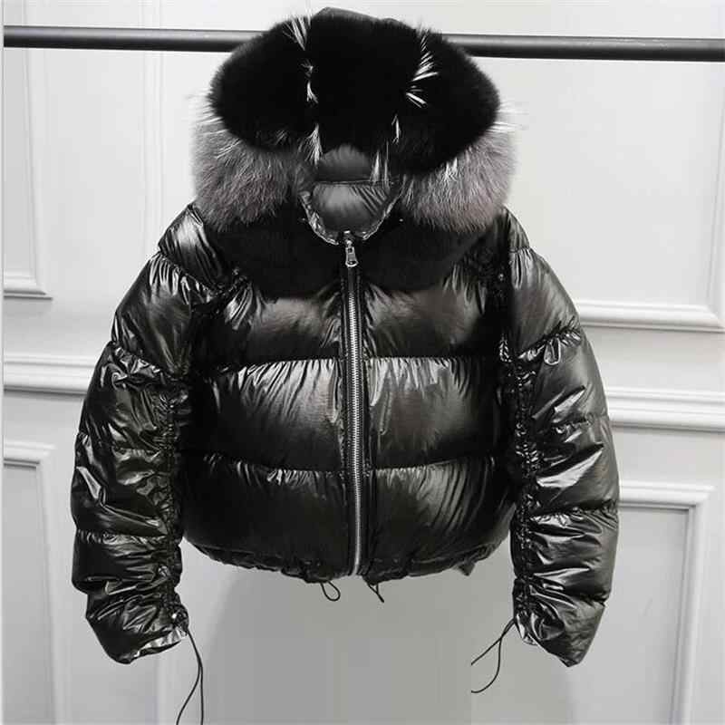2019 Winter Jacket Women White Duck Down Jacket Big Real Fox Collar Hood Outwear Waterproof Loose Coat Thick Warm Down Parka