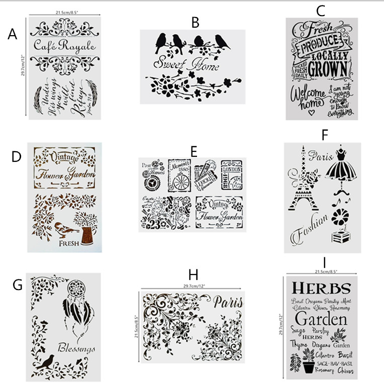 DIY Painting Reusable Art Stencil Templates For Wall Furniture Wood Fabric Painting Decoration Scrapbooking Stamping