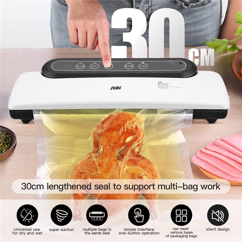 Electric Vacuum Food Sealing Automatic Commercial 220V Household Food Vacuum Sealer Packaging Machine Include 10Pcs Packing Bags