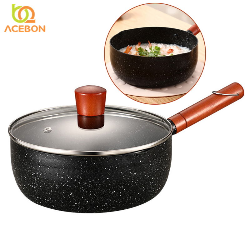 ACEBON 18cm 20cm Non-stick Medical Stone Pot Japanese Style Induction Cooker Universal Soup Pot Aluminum Pot Soup Pot Stone Pot
