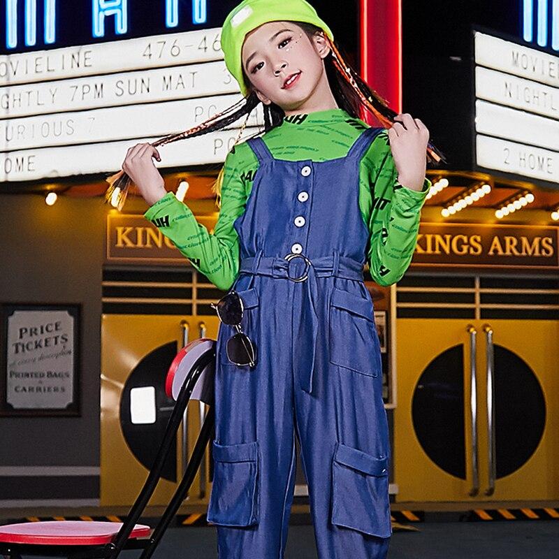 Street Dance Costumes For Girls Hip Hop Blue Bib Pants Green Long Sleeve T-Shirt Children Jazz Performance Stage Outfit DQL2676