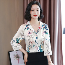 Korean Fashion Silk Women Shirts Woman Silk Shirt