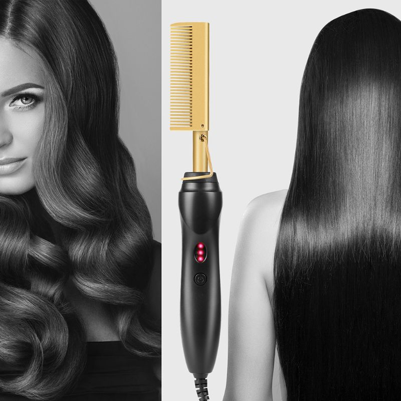 Electric Hot Straightening Heat Pressing Comb Ceramic Curling Flat Iron Curler Designed Hair Straightener for Natural Black Hair image