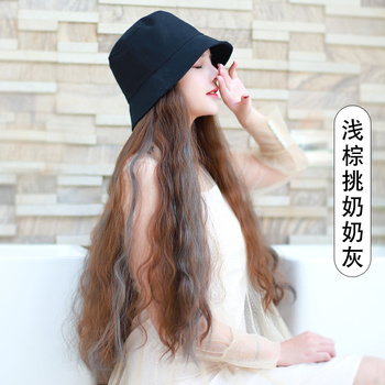 long curly hair periwig  madam  The fisherman hat periwig  an organic whole autumn and winter tide Wool coil water ripple