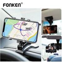 FONKEN Dashboard araç telefon tutucu 360 derece cep akıllı telefon standları dikiz aynası güneşlik araba GPS navigasyon braketi