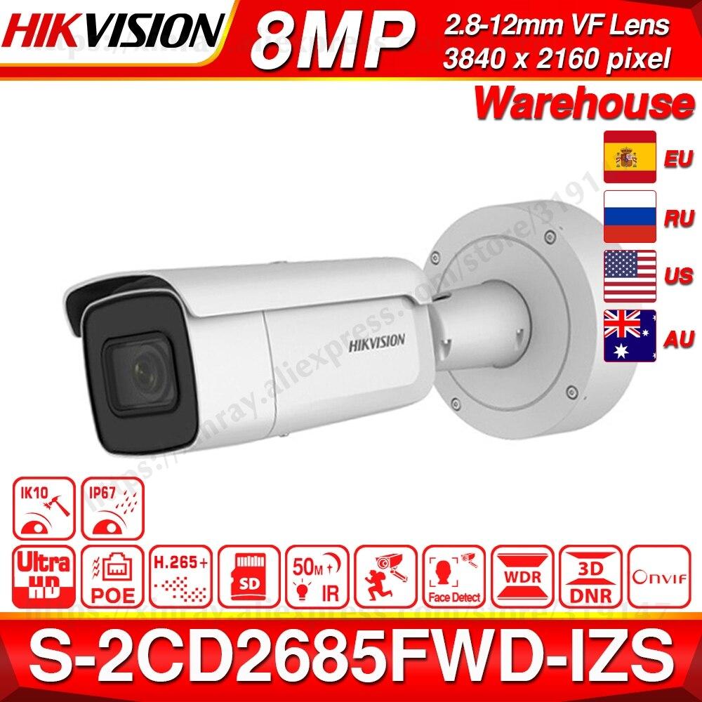 Hikvision Original DS 2CD2685FWD IZS Bullet Camera 8MP POE CCTV Camera 50m IR Range IP67 IK10 H.265+ 2.8 12mm Zoom-in Surveillance Cameras from Security & Protection