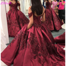 Ball-Gown Quinceanera-Dresses Sequins Burgundy Sweet 16 Off-Shoulder Princess Lace Appliqued