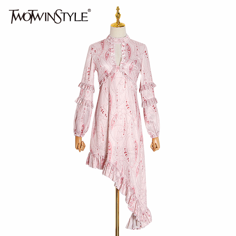 TWOTWINSTYLE Ruffles Asymmetrical Dress Female Lantern Long Sleeve Printed Dresses Women Fashion Clothing 2020 Spring New