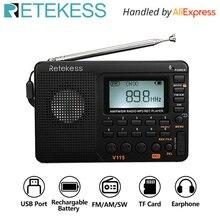 RETEKESS V115 라디오 AM FM SW 포켓 라디오 단파 FM 스피커 지원 TF 카드 USB REC 레코더 수면 시간
