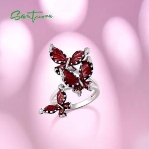 Image 4 - SANTUZZA srebrny pierścień dla kobiet oryginalna 100% 925 Sterling srebrny czerwony motyle Trendy biżuteria Handmade emalia
