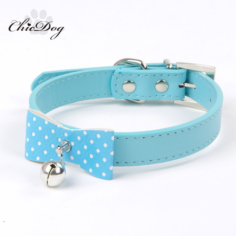 New Style Hot Selling Pet Supplies Dog Neck Ring Pu Bow Polka Dot Bell Dog Neck Ring
