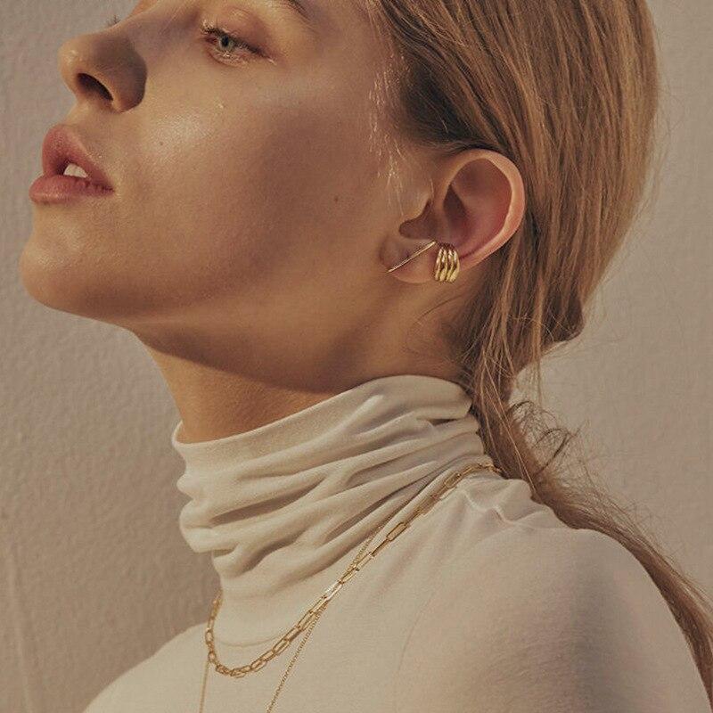Kinel Earrings Korean Style Woman 925 Sterling Silver Earring INS Minimalist C-type Stud Two-tone Simple Design Fine Jewelry