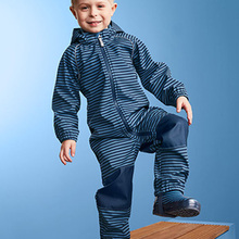 children/kids/boys softshell jumpsuit, windproof/waterproof romper, boys overalls, blue stripe, size 74 to 116