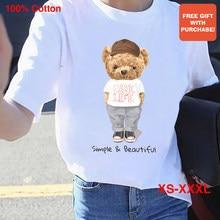 BLINGPAW Minimalist Graphics T-shirt Make Life Simple & Beautiful Teddy Bear Short-sleeved Tops Tees O-Neck Casual 100% Cotton