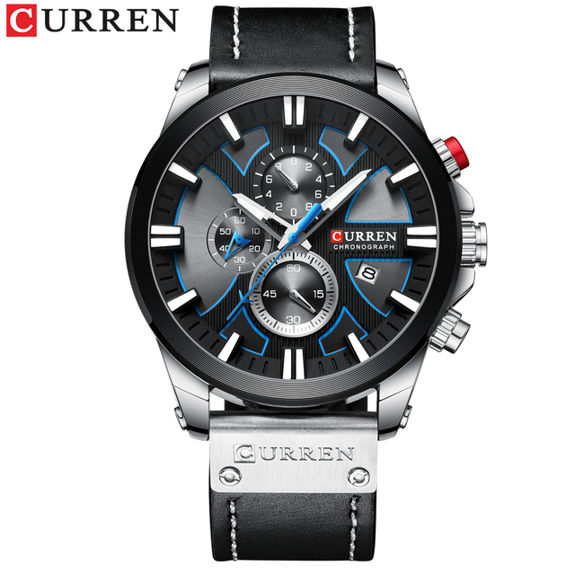 CURREN Big Dial Men's Watch 2019 Chronograph Sport Men Watches Design Creative With Dates Male Wristwatch Mens Stainless Steel